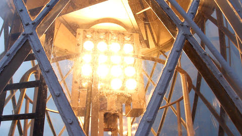 Lighthouse Lamp in Action Stock Video Footage