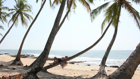 Woman lying on palm tree Footage