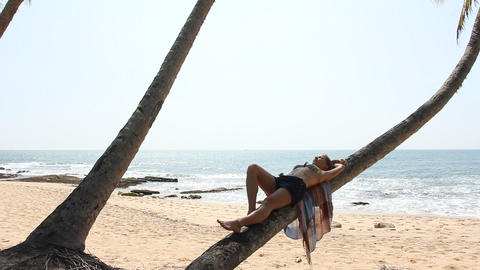 Woman lying on palm tree Footage