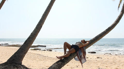 Woman lying on palm tree Stock Video Footage