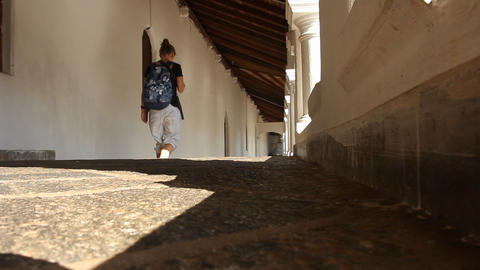 Girl goes in Rock Temple, Sri Lanka Stock Video Footage