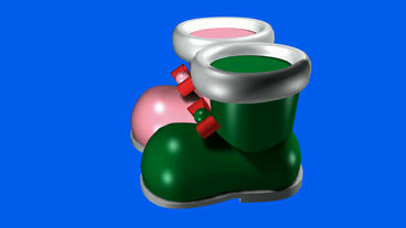 Rotation of 3D shoes.Toy,boot,Christmas,foot,SantaClaus,gifts,isolated,footwear Animation