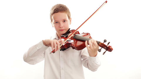 Teenager Playing The Violin stock footage