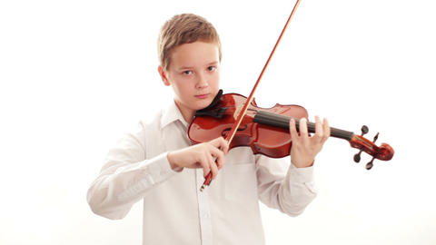 Teenager playing the violin Stock Video Footage