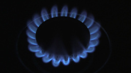 Top View Of A Blue Gas Flame Burning Brightly In The Dark Footage