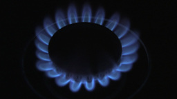 Top View Of A Blue Gas Flame Burning Brightly In The Dark Stock Video Footage