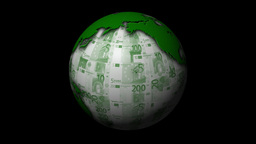 Money-Themed Rotating Globe With Green Euro Currency Notes As Background Animation