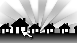 White Arrow Zooming In Animated Houses (Background Rays) Animation