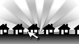 White Arrow Zooming In Animated Houses (Background Rays) Stock Video Footage