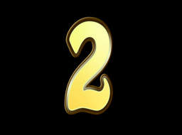 Animated Gold Embossed Number Two Sign Stock Video Footage
