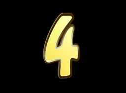 Animated Gold Embossed Number Four Sign Stock Video Footage