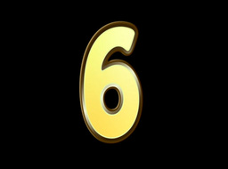 Animated Gold Embossed Number Six Sign Stock Video Footage