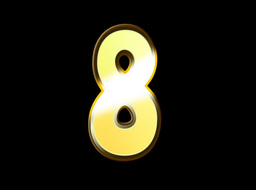 Animated Gold Embossed Number Eight Sign Stock Video Footage
