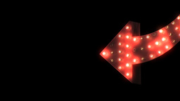 2D Animated Red Flashing Curved Arrow (Close-Up View) Stock Video Footage