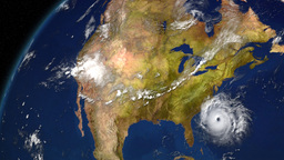 Satellite Image Of Storm Approaching Land 3D Animation Stock Video Footage