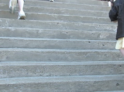 Children walking on stairs Stock Video Footage