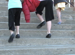 Children walking on stairs Footage