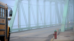 Bridge covered in fog Stock Video Footage