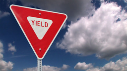 Yield road sign Stock Video Footage