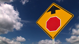 Stop ahead road sign Animation