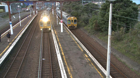 two trains 2 Stock Video Footage