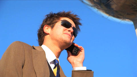 Mid close up businessman on phone Stock Video Footage