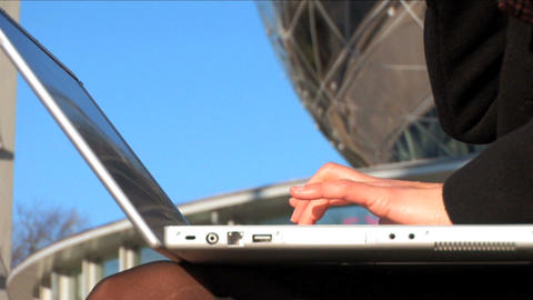 Close up tilt shot businesswoman on laptop and mobile Stock Video Footage