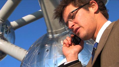 Mid close up businessman on phone Footage