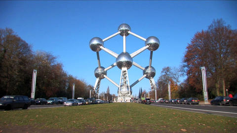Wide shot of Brussels Atomium Stock Video Footage