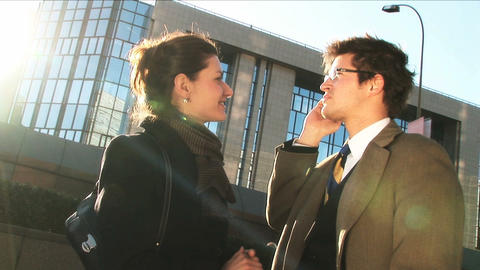 Business couple in city meeting on mobile Stock Video Footage