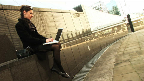 Businesswoman on laptop Footage
