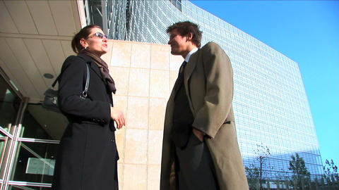 Business couple in city meeting handshake Stock Video Footage
