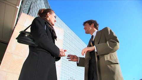 Business couple in city meeting Stock Video Footage