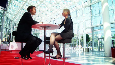 Business couple doing business at their European conference Footage