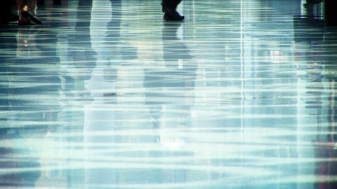 Business people walking with reflection on the floor Stock Video Footage