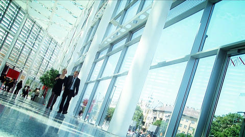Business conference couple walking together and... Stock Video Footage