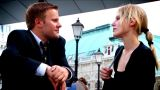 Business Couple At Their European Conference stock footage