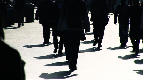 Slow motion of business people walking to the office Stock Video Footage