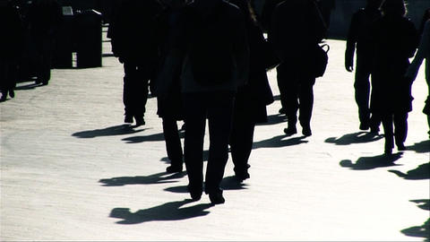 Slow motion of business people walking to the office Footage
