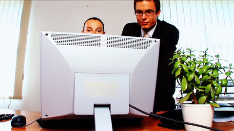 Young business people in modern working environment Stock Video Footage
