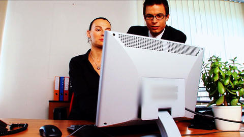 Young business people in modern working environment Footage
