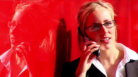 Attractive blonde businesswoman working with technology Stock Video Footage