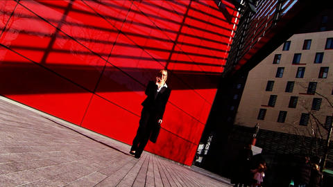 Attractive businesswoman walking to work Stock Video Footage