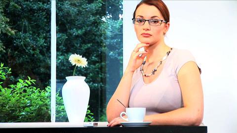 A portrait of an attractive brunette businesswoman... Stock Video Footage