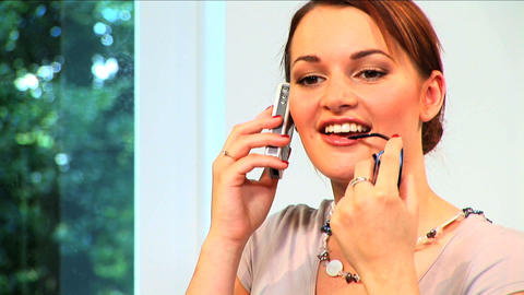 Attractive brunette businesswoman works from home Stock Video Footage