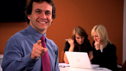 Businessman with team in background Stock Video Footage