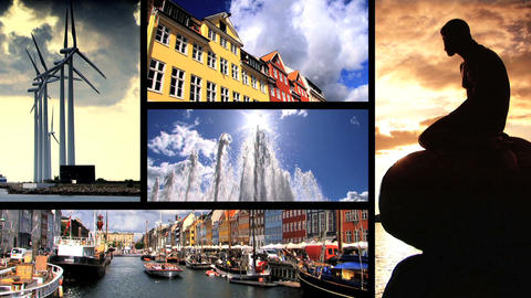 Collection of images from the city of Copenhagen in Denmark Stock Video Footage