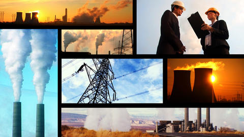Montage of clips showing sources of heavy pollution Stock Video Footage