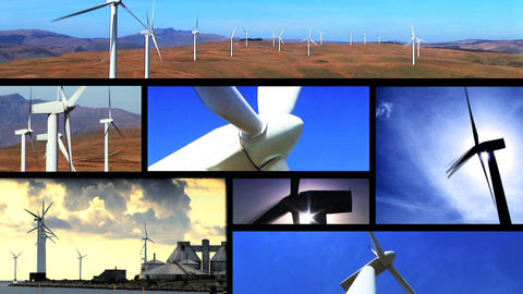 Collection of wind power farm producing energy in the environment Footage