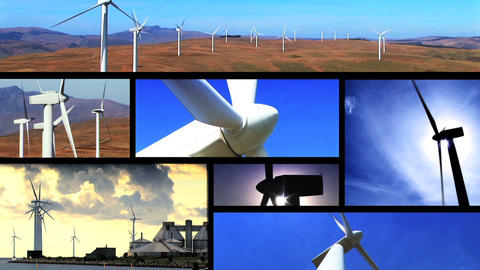 Collection of wind power farm producing energy in the... Stock Video Footage
